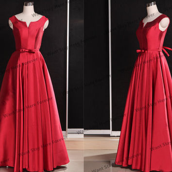 Red satin simple evening dress,long prom dresses,long party dresses,long bridesmaid dresses,red prom dresses,red evening dress,red bridesmai