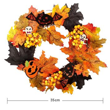 Mayitr 1pc Creative Halloween Wreath Artificial Maple Leaves Ghost Pumpkin Hanging Wreaths for Garden Home Bar Party Decoration