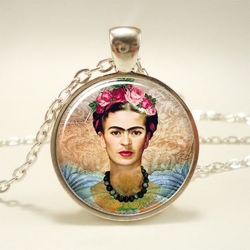 Frida Kahlo Necklace, Feminists Artist Jewelry, Art Pendant (1100S1IN)