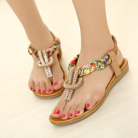 Cute Bbraided and Beaded Flat Sandals for Women 061606