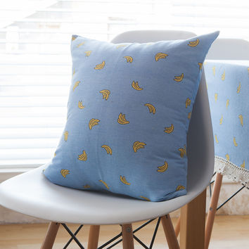 Blue Simple Design Print Cars Sofa Geometric Cotton Linen Cushion Cushion Cover [6451586054]