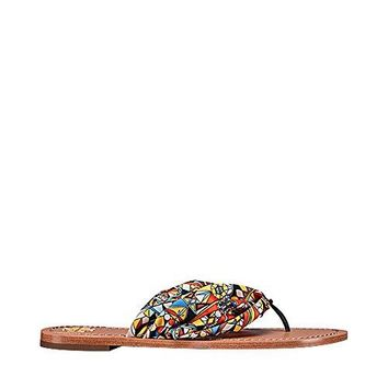 Tory Burch Carson Satin and Leather Flat Thong Sandals, Sweet Tangerine Psychedelic Geo (9)