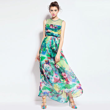 Sleeveless Silk Maxi Dress