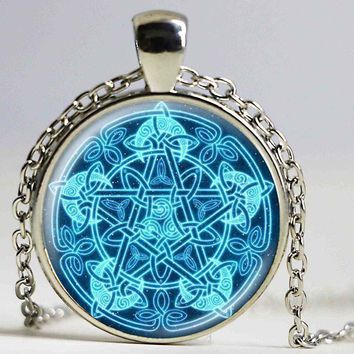 New Occult Wiccan Necklace Vintage Jewelry Bronze/Silver/Black Chain Magic Pentagram Glass Cabochon Picture Pendant