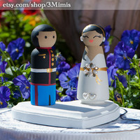 Custom Wedding Cake Toppers Wooden Peg People - Hand Painted -3D Accessories- Made to Order By:3Mimis