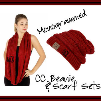 Monogrammed CC Beanie and Scarf Sets - Embroidered Gift