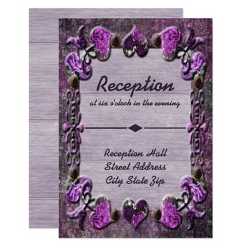Purple Passion Floral Wedding Reception Card