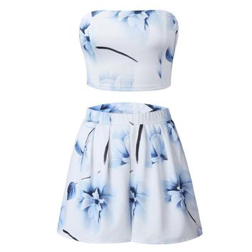 Fashion Women Strapless Print Crop Tops Suits High Waisted Shorts Sexy Two Piece Set