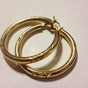Italian 10K Gold Hoops Earrings 7 GRAMS Vintage HUGE Italy Etched Yellow YG Estate Jewelry Bridal Gift Women Girl Prom Wedding Goth Womens