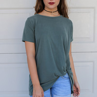 Seattle Olive Bottom Twisted Modal Top