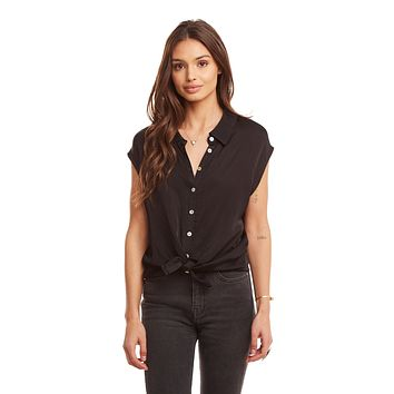 Women's Silky Cap Sleeve Button Down Top with Tie Front Detail