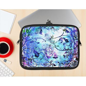 The Black & Bright Color Floral Pastel Ink-Fuzed NeoPrene MacBook Laptop Sleeve