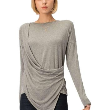 Long Sleeve Drape Top, Grey