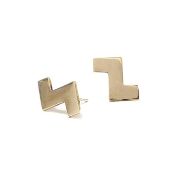 Annie Costello Brown - Medium Tetris Earring
