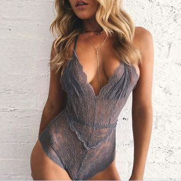 Hot sale fashion sexy lace hollow show thin V neck underwear one piece-1