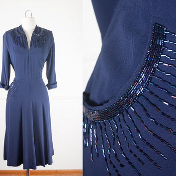 1940s Beaded Evening Dress / Vintage 40s Dress / Navy Blue Dress / Form Fit Beaded Dress / Rockabilly Dress / Beaded 40s Dress / Mid Century