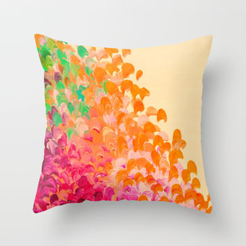 CREATION IN COLOR Autumn Infusion - Colorful Abstract Acrylic Painting Fall Splash Ombre Ocean Waves Throw Pillow by EbiEmporium