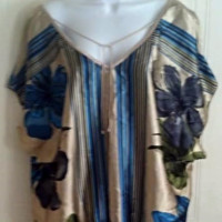 HeartSoul Flowered Deep V-Front/Back Gathered Waist Tunic Sleeve Blouse Jr 2XL