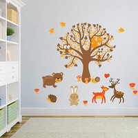 cik1664 Full Color Wall decal bedroom children's room decor Custom Baby Nursery on bed baby tree nusery decal tree forest animals