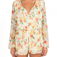 Orange Blossoms Long Sleeve Romper
