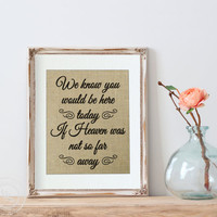 Wedding Sign, In Memory Of, If Heaven Wasn't So Far Away Quote, Wedding In Memory Of Sign, Prints on Authentic BURLAP