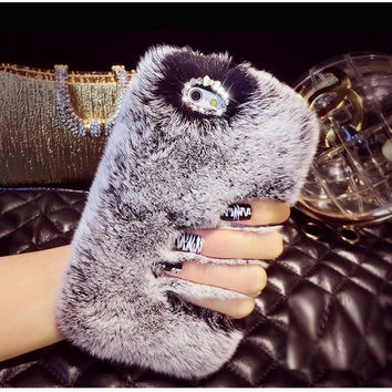 Luxury Winter Warm Furry Soft Rabbit Fur Phone Case Cover For iPhone 5 5S 5C 4 4S = 1932676804