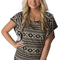 Panhandle Slim Women's Cream with Black Aztec Stripes Flutter Short Sleeves Fashion Top
