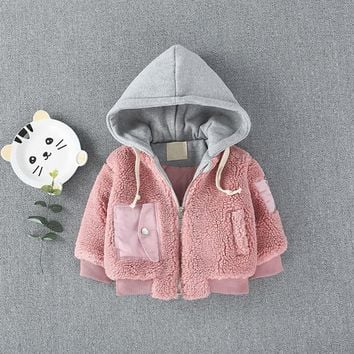 Winter Jackets Girls Bibicola Qiu Dong Season Boy 0 To 3 Years Old Baby Lambs Coat Hooded Casual Jacket Cotton-padded Clothes