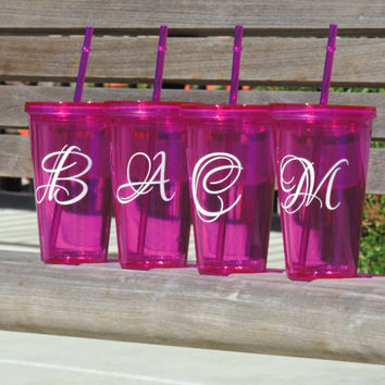 Acrylic tumbler, cup with initials, monogrammed cup, wedding party gift, bachelorette party favor, bridal party gift, personalized cup
