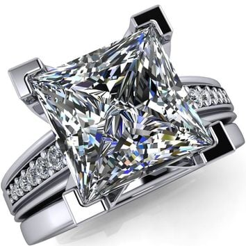 Beatrix Princess/Square Diamond Channel Cathedral Ring