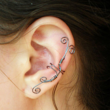 Ear Cuff Whimsical Hematite Wire Spirals Large by stuffbyemily