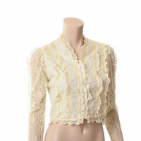 Vintage 70s Ivory Lace Prairie Blouse 1970s Sheer Sleeve Button Front Mexican Lace Hippie Boho Top