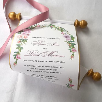Custom listing, Fairytale wedding invitation scroll, watercolor roses wreath, pink and gold, set of 25