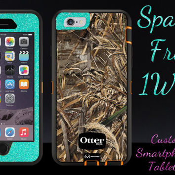 "iPhone 6 Case OTTERBOX - 4.7"" iPhone 6 Otterbox Defender Custom Glitter Case  - Max 5 Wintermint Glitter Camo Cute New iPhone 6 Protector"