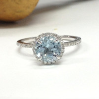 Aquamarine Engagement Ring 14K White Gold!7mm Round Cut Blue Aquamarine,Halo Diamond Engagement Ring,Wedding Bridal Ring,Claw Prongs
