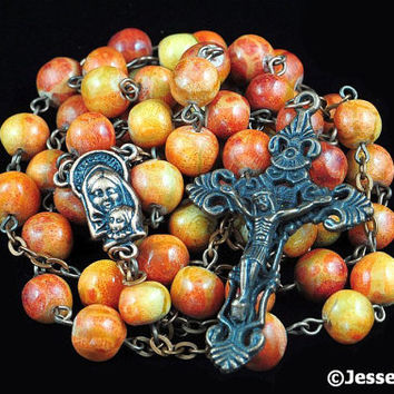 Catholic Rosary Apple Wood Copper Traditional Rustic Natural Stone Rosary Beads