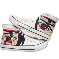 Hand Painted Converse Naruto Anime Custom Converse Sneakers Mangekyo Sharingan (19 available)