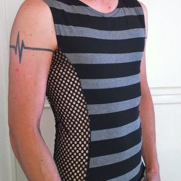 Mens Shirt colorblock two-tone cyber goth Burning Man raver tribal festival dance stripe fishnet sleeveless tank Apocalypse Mad Max Cirque
