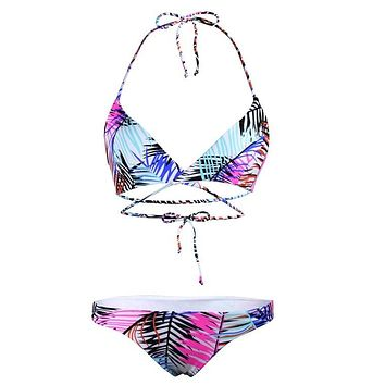 Sexy Crop Halter Bikini Set Women Swimsuit Ethnic Print Slim Swimwear
