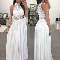 Women's Sexy Boho Sleeveless Halter Long Maxi Evening Party Beach Formal Dress Sundress