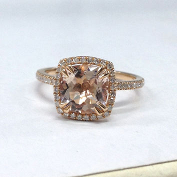 Morganite Diamond Ring in 14K Rose Gold!8mm Cushion Cut Morganite Halo Engagement Ring,Claw Prongs,Wedding Bridal Ring,Classic Fine Ring