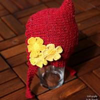 Cute baby pixie hat - handknit, with flower appliques, pixie beanie, baby hat, birthday gift, for baby shower and as a holiday gift