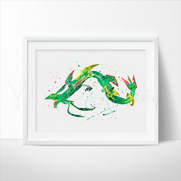 Mega Rayquaza, Pokemon Watercolor Art Print