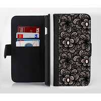 The Black Floral Lace Ink-Fuzed Leather Folding Wallet Credit-Card Case for the Apple iPhone 6/6s, 6/6s Plus, 5/5s and 5c
