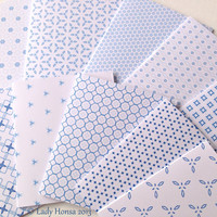 Winter blue and white handmade greeting cards with envelopes, geometrical pattern blank cards, thank you cards, geometric print cards