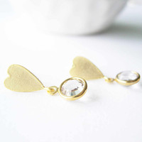 Valentine's Day Gift - Modern Jewelry,  Bridal Accessory, Clear Crystal, Post Earrings, Matte Gold Tone, Hearts, Drop, Contemporary
