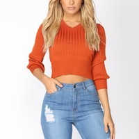 You're So Tantalizing Wrap Sweater - Rust