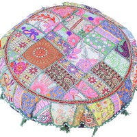 Large Embroidered Rajasthani Patchwork Floor Pillows