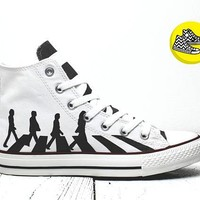 Abbey road Beatles custom converse sneakers handmade rock'n'roll design