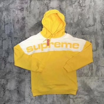 Supreme 17FW Blocked Hooded Woman Men Fashion Top Sweater Hoodie